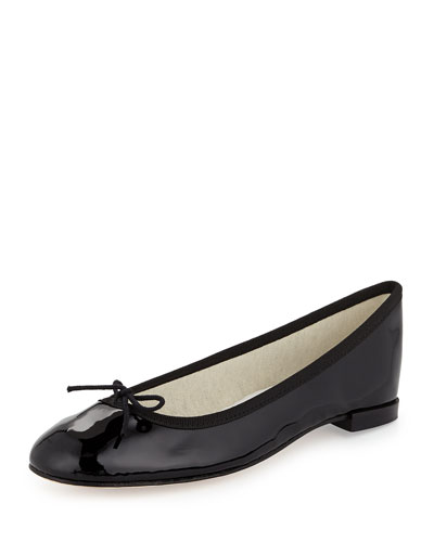 Patent Leather Ballerina Flat with Bow, Black
