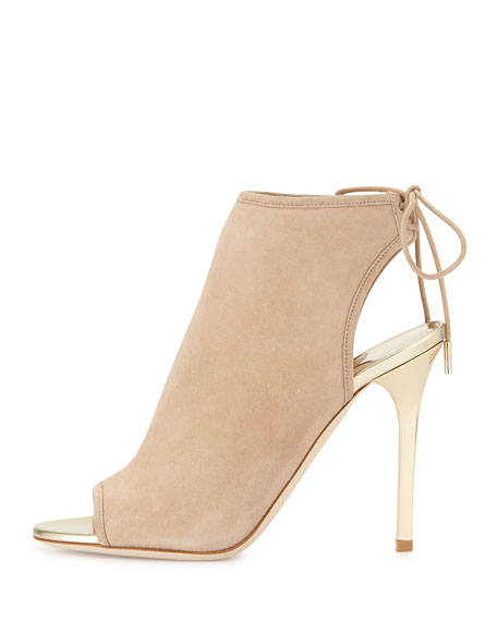Froze Suede Tie Bootie, Nude/Champagne