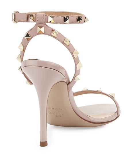 Rockstud Leather Ankle-Wrap Sandal, Neutral