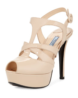 Crisscross Strappy Patent Sandal, Neutral