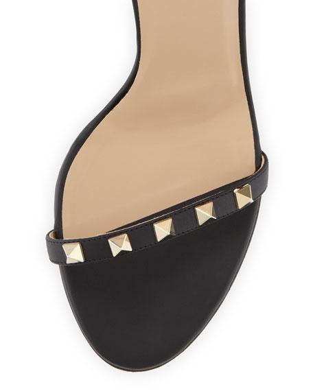 Rockstud Leather Ankle-Wrap Sandal, Black