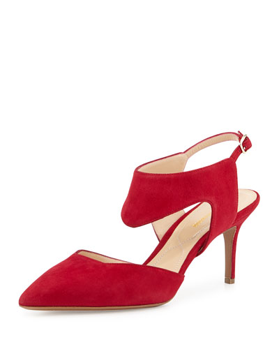 Cutout Suede Ankle-Wrap Pump