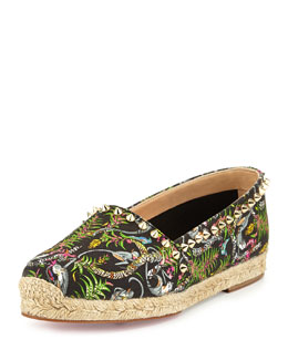 Ares Canvas Red Sole Espadrille, Black/Light Gold/Multi