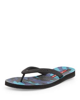 Camo-Print Thong-Strap Flip Flop, Royal