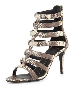Snake-Embossed Gladiator Sandal, Natural