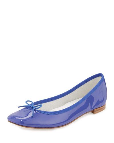 Patent-Leather Ballerina Flat, Blue