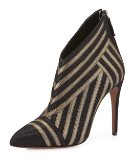 Phyrne Two-Tone Striped Bootie, Black/Gold
