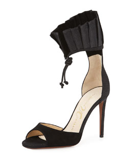 Mathilde Ruffle Ankle-Wrap Sandal, Black