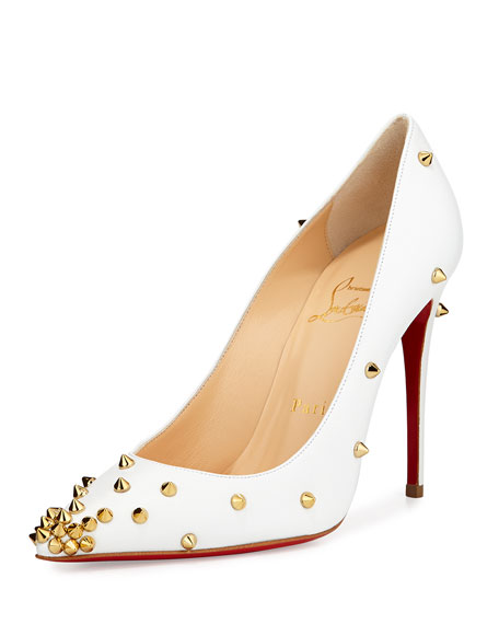 the latest 13b15 9dbeb Degraspike Studded Point-Toe Red Sole Pump White