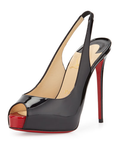 Private Number Patent Peep-Toe Red Sole Slingback