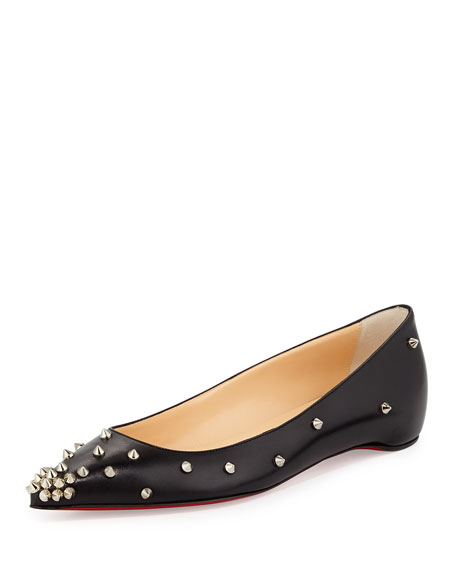 price of christian louboutin shoes - Christian Louboutin Degraspike Studded Point-Toe Red Sole Flat, Black