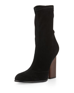 Gia Stretch-Suede Ankle Boot, Black