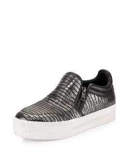 Jordy Lizard-Embossed Skate Shoe, Black