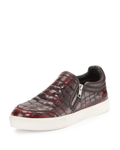 Intense Croc-Embossed Skate Shoe, Bordeaux