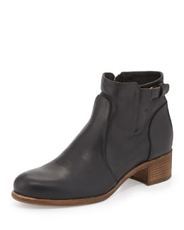 Viola Tabbed Leather Ankle Boot
