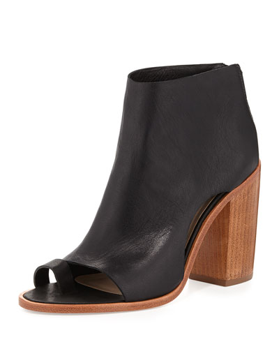 Gigi Toe-Ring Leather Bootie, Black