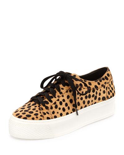 Miko Calf-Hair Platform Sneaker, Cheetah