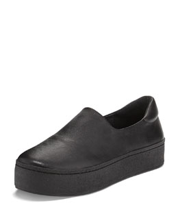 Soft Leather Platform Slip-On