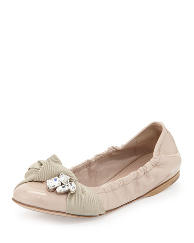 Crystal Bow Patent Ballet Flat