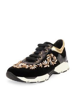 Crystal-Embellished Velvet Sneaker