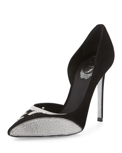 Crystal-Detailed Woven Cutout Half D'Orsay Pump, Black