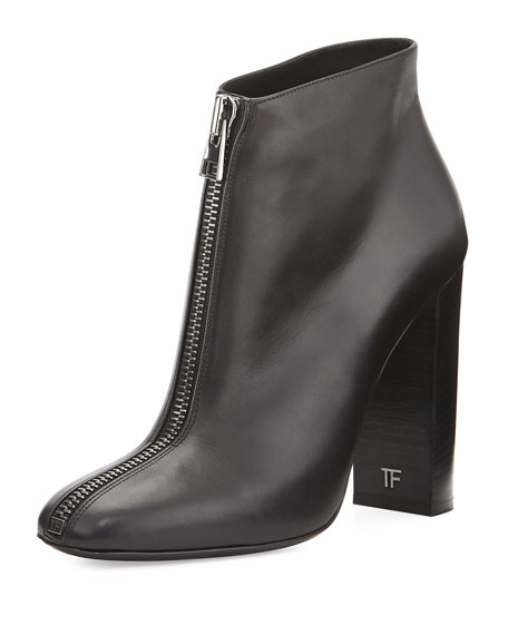 Front-Zip Leather Ankle Boot