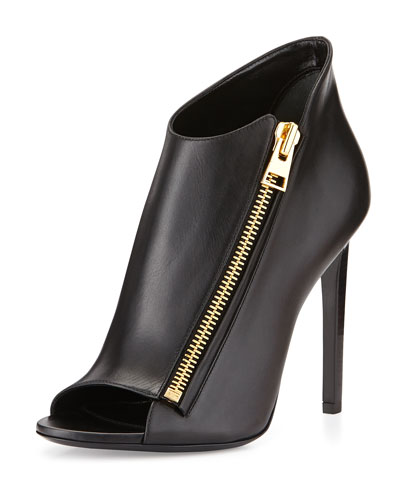 Open-Toe Zip-Front Leather Bootie, Black
