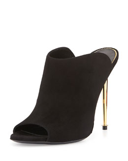 Open-Toe Suede Mule, Black