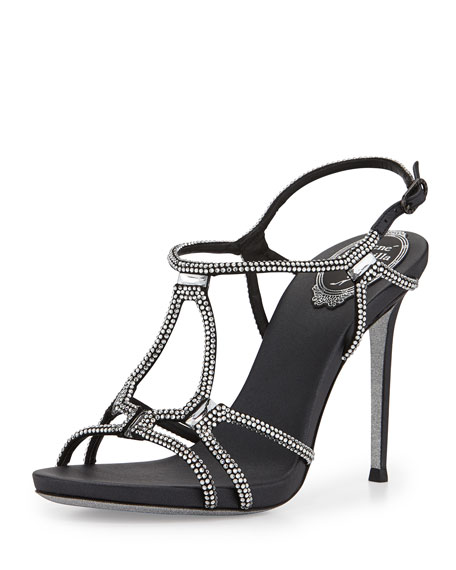 Strappy Crystal Satin Sandal