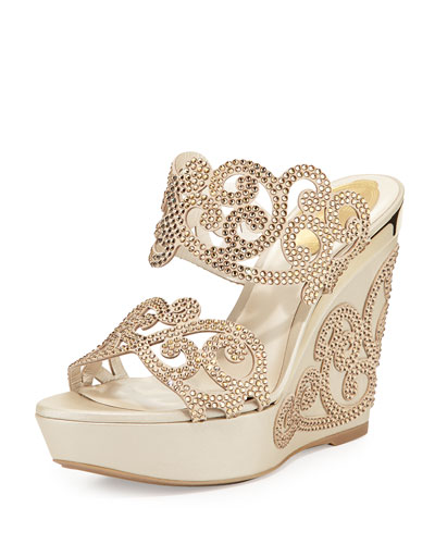 Crystal Scroll Double-Band Wedge Sandal, Light Gold