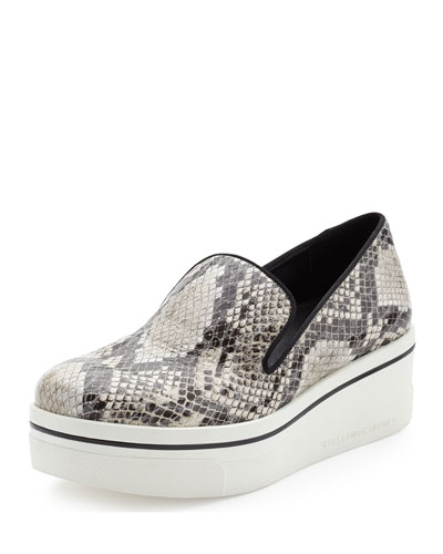 Snake-Embossed Sneaker-Style Loafer