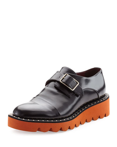 Two-Tone Studded Monk-Strap Loafer