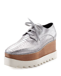 Metallic Snake-Embossed Platform Creeper