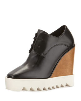 Lace-Up Faux-Leather Studded Wedge