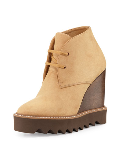 Faux-Suede Lace-Up Wedge Boot, Mushroom