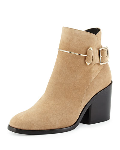 Suede Chunky-Heel Ankle Boot, Camel