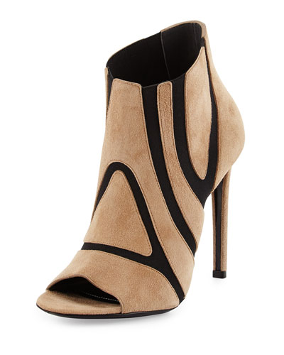 Suede Stretch-Cutout Bootie, Black/Tan