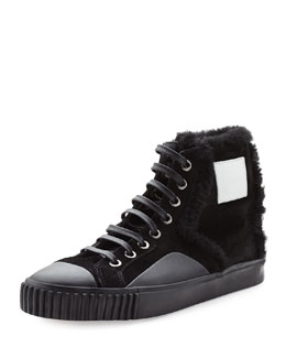 Fur-Trimmed High-Top Sneaker
