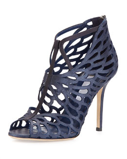 Fyonn Shimmer Caged Bootie, Navy