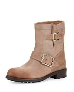 Youth Brushed Leather Boot, Beige