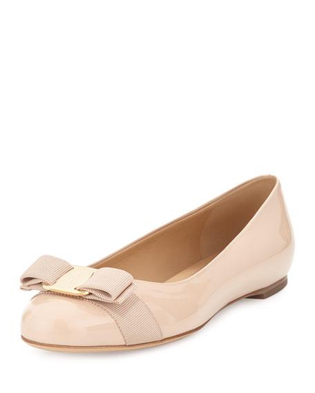 Patent Ballerina Flat, Bisque