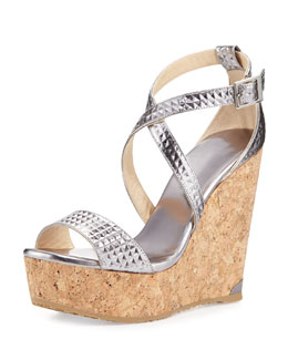 Portia Mirror Leather Wedge Sandal, Steel