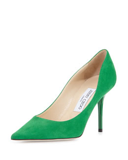 Agnes Suede Point-Toe Pump, Green