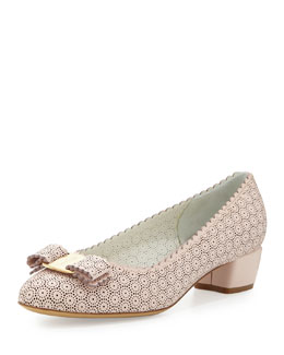 Vara Laser-Cut Bow Pump, Light Pink
