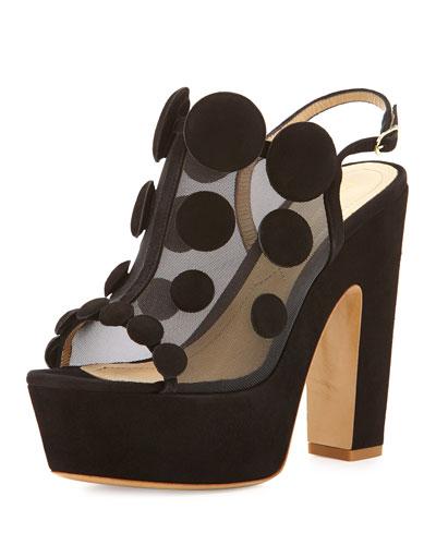 Dotted Mesh Slingback Sandal