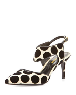 Leda Polka-Dot Cutout Point-Toe Pump