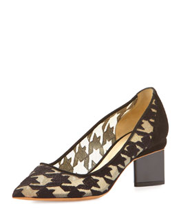 Embroidered Houndstooth Point-Toe Pump