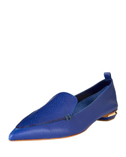 Pebbled Leather Point-Toe Loafer, Blue