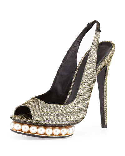 Casati Metallic Pearly Peep-Toe Slingback Pump
