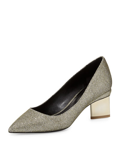Metallic Fabric Block-Heel Pump, Platino